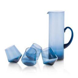 Ukrasni bokal sa 4 čaše, plavi