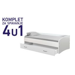 Komplet za spavanje s ladicom kreveta 200x90 bijeli, krevet Junior, madrac, podnica