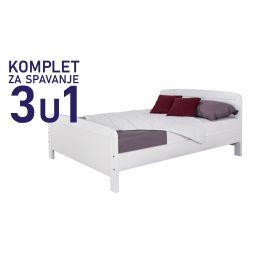 Komplet za spavanje u dimenziji 200x160 bijeli - krevet Matea, madrac, podnica