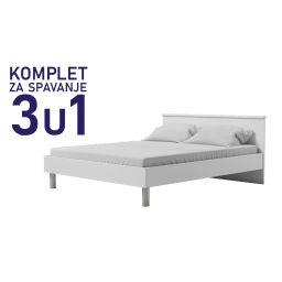 Komplet za spavanje u dimenziji 200x140 bijeli - Paola krevet, madrac i podnica