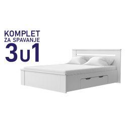 Komplet za spavanje u dimenziji 200x160 bijeli - Paola krevet 2 ladice, madrac, podnica
