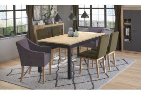 Komplet stol na razvlačenje Bruno, stolice Dublin i fotelje Demetra