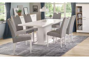 Komplet stol na razvlačenje Cross bijeli sjaj sa stolicama Ana