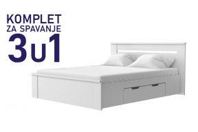 Komplet za spavanje u dimenziji 200x160, Paola krevet 2 ladice - 3.699,00 kn